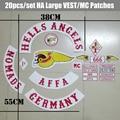 Nuevo Llegado 20 unids/set Hells Angels MC Parches para el Club de la Motocicleta Chaleco Jacekt Hierro en Alemania Patche Biker Etiqueta