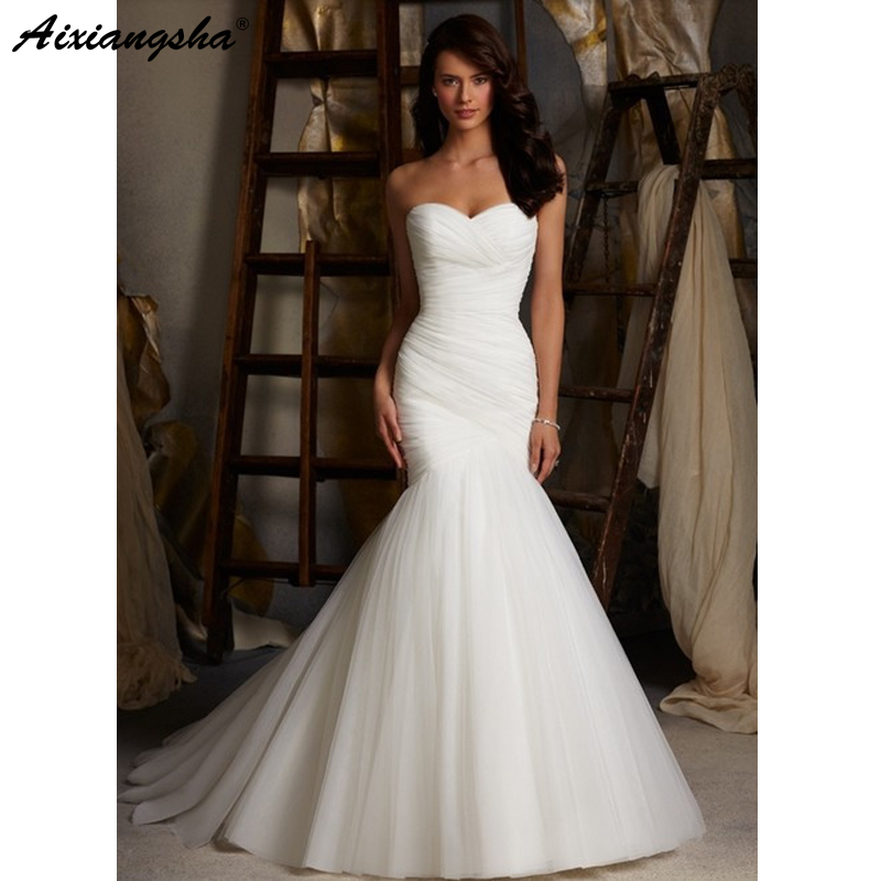 2019 Panas lantai panjang panjang pleat pakaian perkahwinan murah tulle robe de mariage Elegant Mermaid pakaian perkahwinan