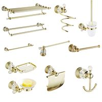 European Antique Crystal Bathroom Products Solid Brass Bathroom Hardware Sets Soap Dish Gold Polished Towel Rack accessori bagno