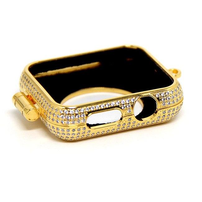 Di lusso di bling diamanti di strass incrostato 24kt carati placcato oro gioielli collana della vigilanza della copertura di caso per Apple osservare series1 & 2 e 3 - 5