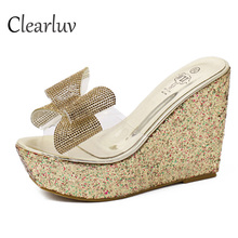 2019 new best selling high quality rhinestone bow banquet dress with heel sandals transparent platform slippers size 34-40