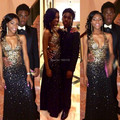 Ouro lantejoula sereia vestidos para meninas negras longo partido vestidos de noite do baile de finalistas africanos Sexy V Neck Backless vestido de concurso de cristal
