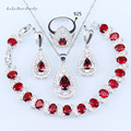 L&B Drop silver 925 Red Garnet White Zircon Jewelry Sets For Women Bracelets/Earrings/Pendant/Necklace Chain/Ring