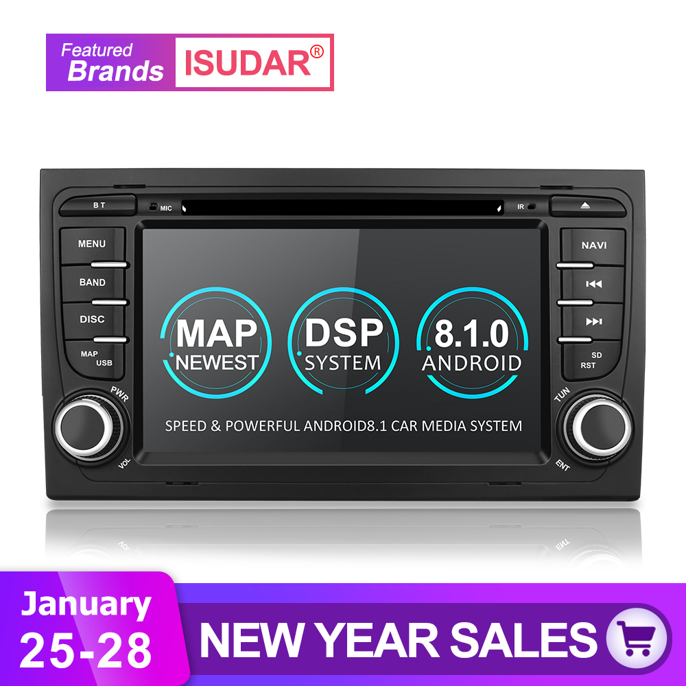 Isudar 2 Din Voiture Lecteur Multimédia GPS Android 8.1.0 DVD Automotivo Pour Audi/A4/S4 2002-2008 radio Quad Cores RAM 2 GB ROM 16 GB