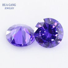 Violet Cubic Zirconia 11~20mm Round Shape 5A Brilliant Cut Loose CZ Stone Synthetic Gems For Jewelry Free shipping