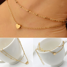 5 pieces Women's Love Heart Shape Ankle Bracelet Double Layers Chain Sexy Foot Anklet