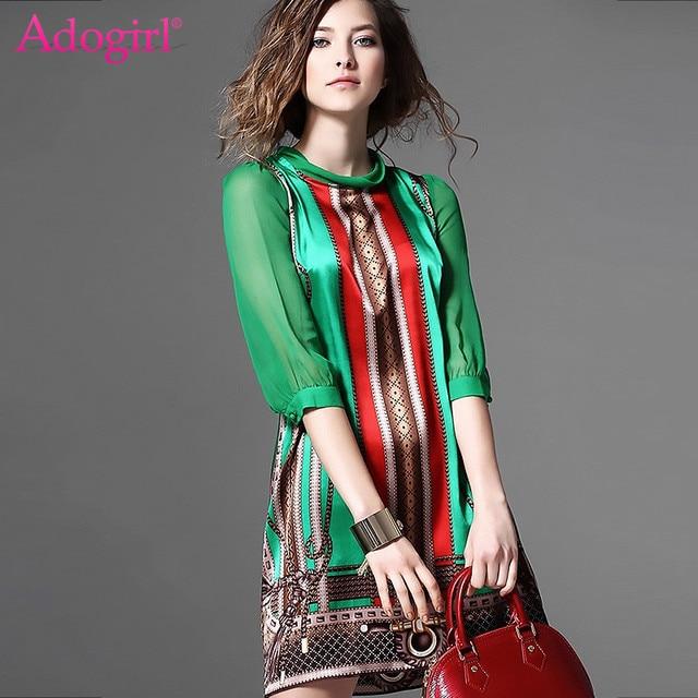 Adogirl 2018 New Chiffon Half Sleeve Ethnic Print Mini Dress Fashion