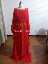 Elegant O-Neck 2015 NEw Arrival Red And Gold Beaded Prom Dresses Abaya In Dubai Kaftan Morocco Muslim Evening Islamic Dress