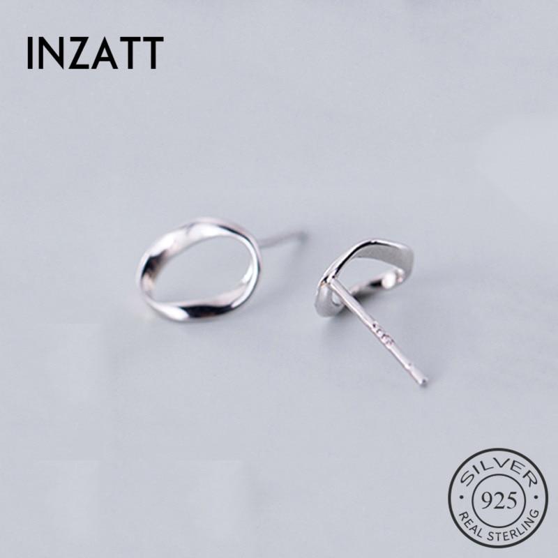 INZATT Real 925 Sterling Silver Twist Round Stud Earrings For Fashion Women Party Rock Fine Jewelry Minimalist 2019 Accessories