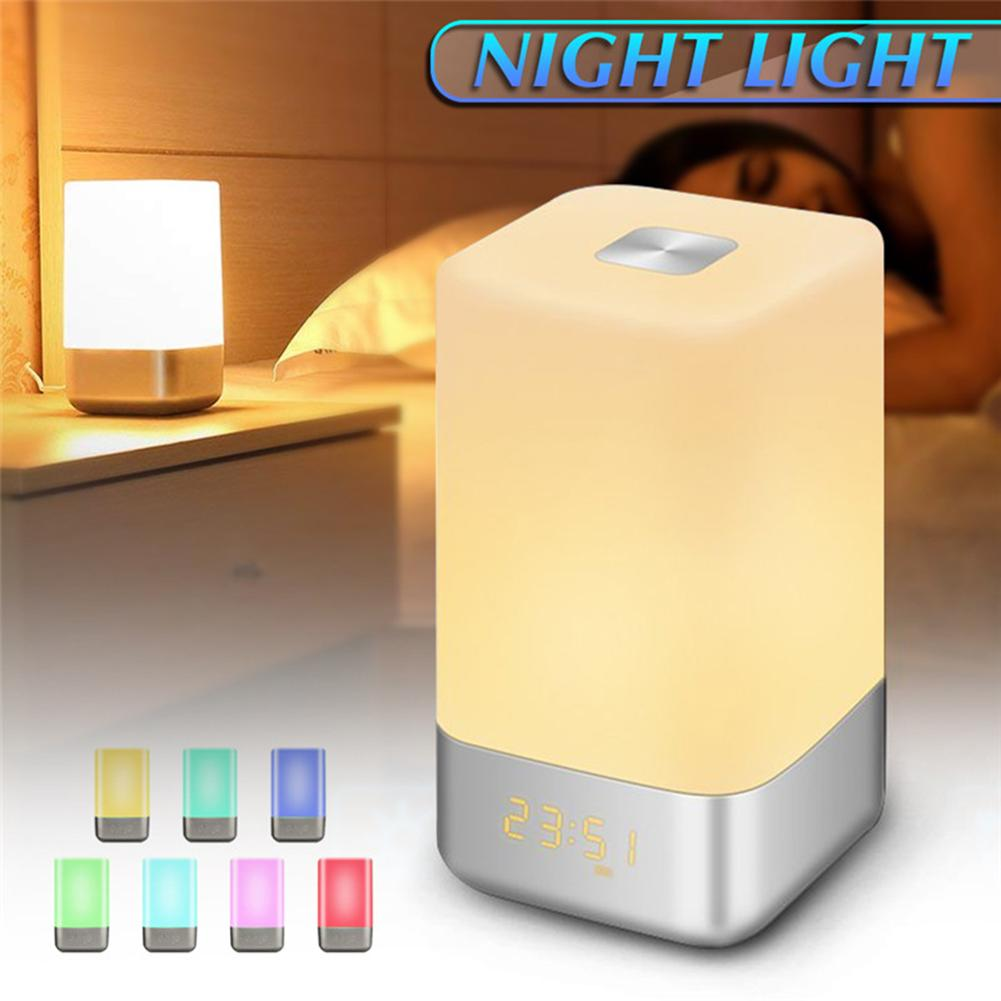 Digital Dimmable Rechargeable LED Table Wake up Night Light Bedside Alarm Clock #01