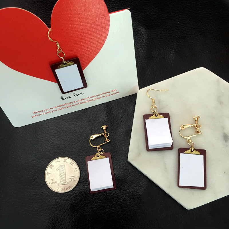 LPHZQH New Fashion Handmade Notebook Lucky Clover Book Pendants Earrings For Womens Style Unique Strange Jewelry Acessories