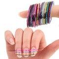 30 Pcs Misto Colorido Beleza Rola Linha Fita Striping Decalques Foil Dicas DIY Projeto Nail Art Adesivos para unhas Ferramentas decorações