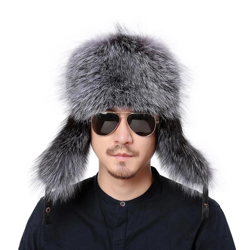 Noir Fausse Fourrure Chapeau de trappeur polaire doublé russe Ushanka Hiver Chaud Aviateur Cap