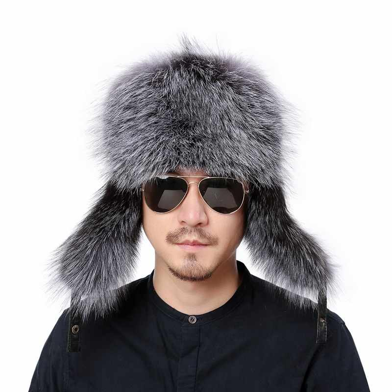 73fd83d2f Valpeak Winter Bomber Hat Real Natural Fox Fur Hat Russian Hat Ushanka Men  Warm Leather Trapper Aviator Hat with Earflaps