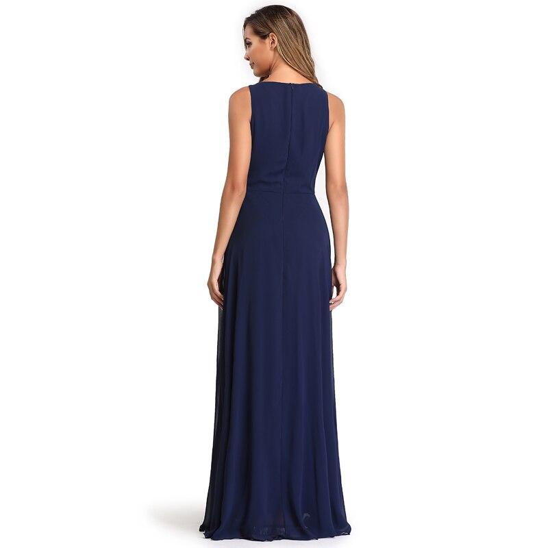 Elegant See-Through Appliques Chiffon Long Evening Dress 8