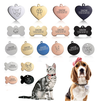 Free Engraving Customized Cat Dog ID Tag Collar Pet Charm Name Pendant Bone Necklace Puppy Accessory