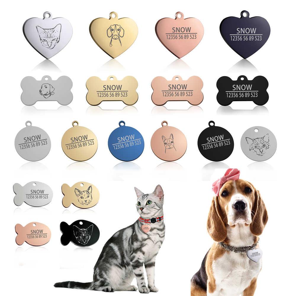 Baru 1 Buah Kucing Anjing ID: Gratis Ukiran Anjing Kerah Hewan Peliharaan Pesona Nama Hewan Peliharaan Liontin Tulang Kalung Kerah Anjing kucing Kerah Aksesori