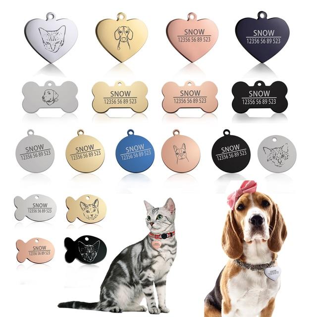 Nuovo 1 pcs del gatto del cane tag ID Spedizione incisione cane Collare dell'ani