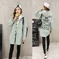 2016 Новый Осень Женщины Печати Письмо Улица Пальто Свободные Базовая Куртка Плюс Размер XS-2XL Дизайн Капюшоном Пальто Свободная Посадка