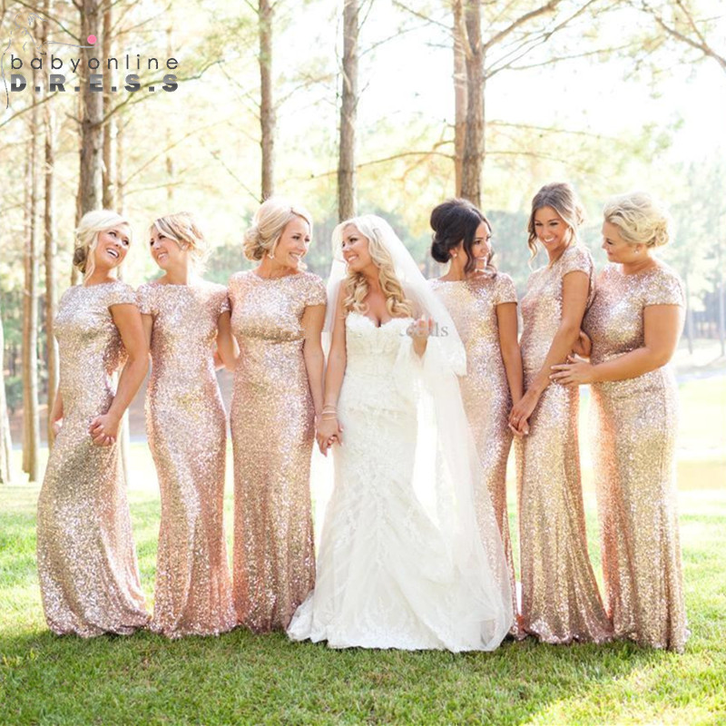 Fashion Reflective Dress Rose Gold Sequined Bridesmaid Dresses 2019 Mermaid Dress for Wedding Party Robe Demoiselle D'honneur