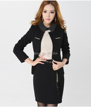 2015 New Plus Size 4XL Elegant Professional Long Sleeve Business Women Career Suits Formal Uniform With Skirt Size S-4XL