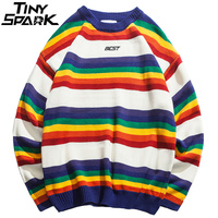 Harajuku Retro Rainbow Knitted Striped Sweater Mens Hip Hop Pullover Sweater Streetwear Male Fashion Autumn 2018 Sweater Cotton