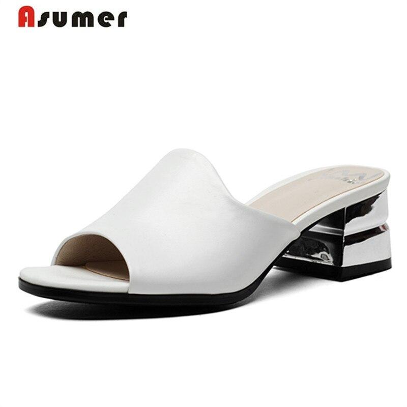 Asumer Grande taille 33-41 Tout en cuir véritable chaussures d'été femmes sandales chaussures de mode contracté solide à bout ouvert