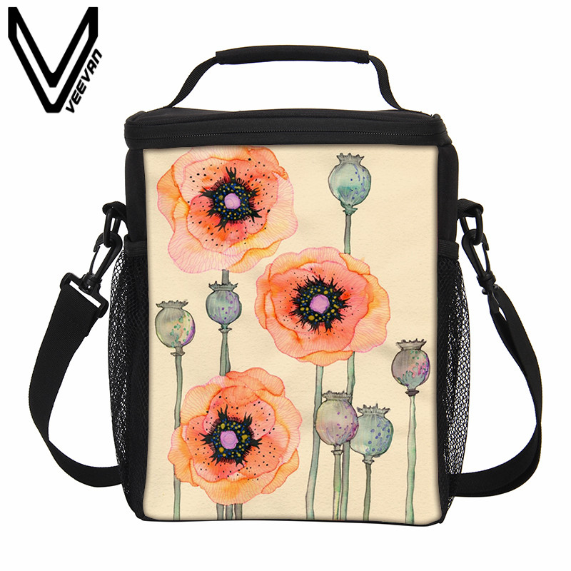 VEEVANV 3D Large <font><b>Cooler</b></font> Bags Food Handbags Thermo Lunch Bags Women Portable Insulated Thermal Lunch Box Picnic Storage Container