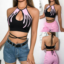 цена на Hot Sexy Black Women Printed Lace-up Scoop Neck Tops Sleeveless Shirt Cami Top S-L