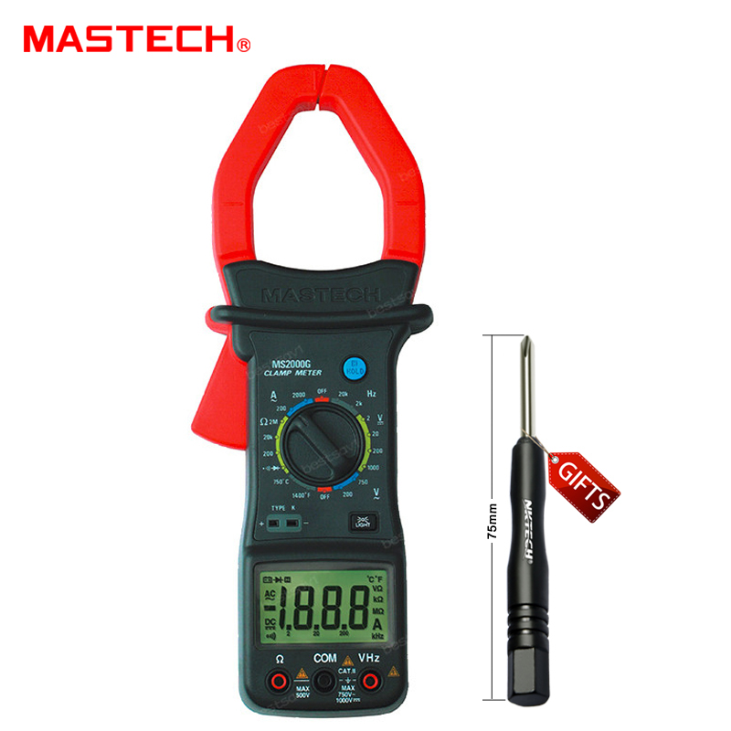AC/DC Digital Clamp MS2000G Meter Multimeter 2000A AC Current With Frequency Temperature Resistance MASTECH мультиметр uyigao ac dc ua18