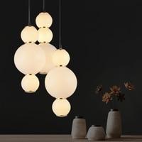 Nordic Modern Pearls Acrylic Pendant Lamp Living Room Bar Suspension Light Fixture Dinning Room White Acrylic Balls Lamp