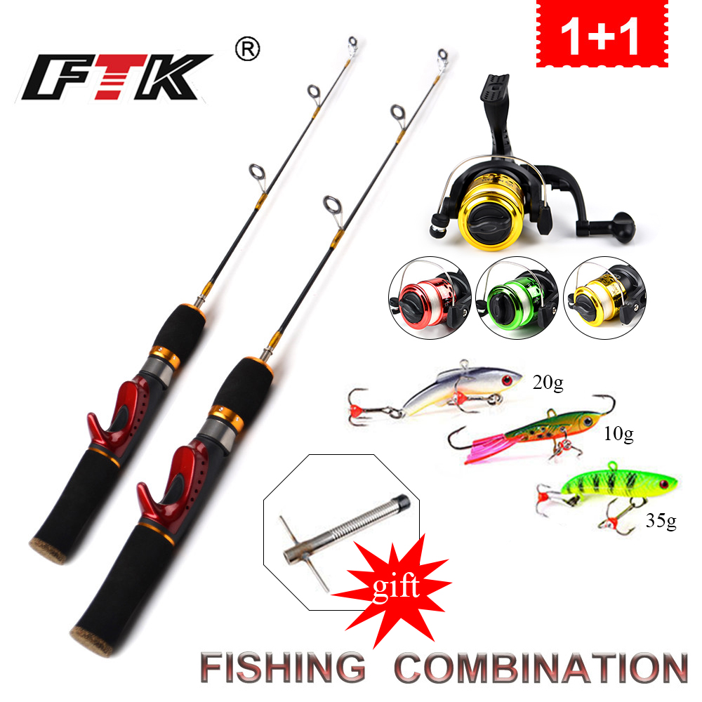 FTK Carbon Rod Superhard Boat Ice Lures Ice Winter Fishing Rod With High Quality Fishing Reel With Line Fishing Tackle set 25 цена