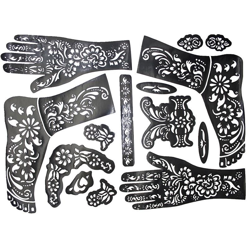 Temporary Tattoo Stencils Henna: 1pcs 38*29cm Large Henna Tattoo Stencils For Painting