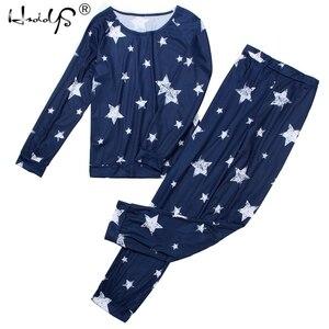 Image 3 - Женский пижамный комплект со звездами, Осень зима, мягкая удобная Пижама, домашний костюм, женская пижама, топ и штаны, пижамный комплект