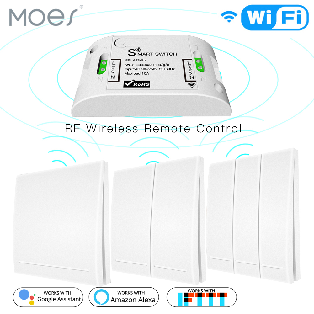 Smart Push Button Switch <font><b>RF433</b></font> 110V 220V Receiver Wifi Wireless Remote <font><b>Control</b></font> Smart Life/Tuya APP,Works with Alexa Google Home. image