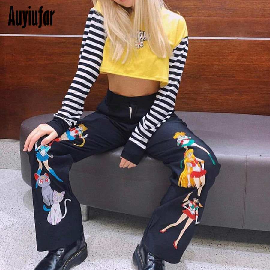 Auyiufar Animal Print Women's   Pants     Wide     Leg     Pants   Women's Trousers Harajuku Summer 2019 Sailor Moon Print Pantalon Flair   Pants