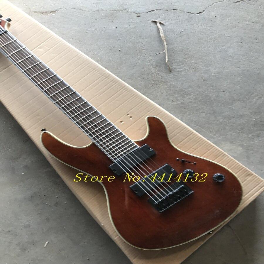 Guitare électrique noire transparente de 8 cordes faite sur commande d'usine avec le placage d'érable de flamme, micros de HH, de haute qualité, peut être adapté aux besoins du client