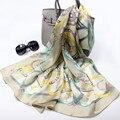 170*55 cm Cadena de La Bufanda de Seda Verdadera de la Pista de Lujo Marca Hijab Echarpe Foulard Chales Pañuelos Impresos de Las Mujeres Femeninas bufandas Wraps S3