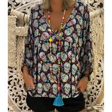 women blouse fashion female ladies pumpkin vintage clothing womens skull printed Halloween top shirt