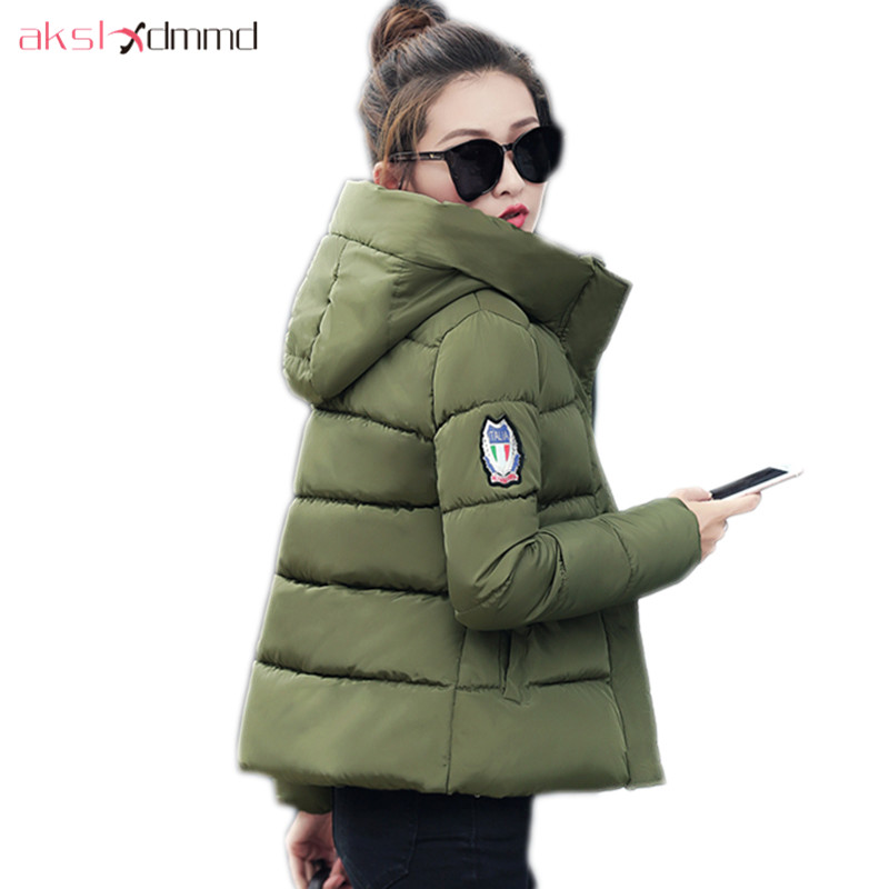 AKSLXDMMD Plus Size Women Jacket 2017 New Autumn and Winter Student Hooded Short Cotton Coat Slim Overcoat Parkas Female LH1163 akslxdmmd parkas women winter jacket 2017 new autumn and winter thick padded fur collar hooded short coat female lh998