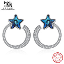 Star Crystal From Swarovski Earrings Hollow Circle Stud Earring For Women Real 925 Sterling Silver Anniversary Fine Jewlery Gift elegant women earrings blue crystals from swarovski hook earring top quality 925 sterling silver anniversary party fine jewelry
