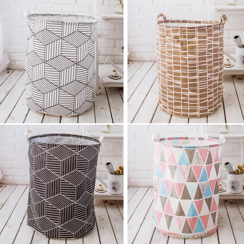 Waterproof Foldable Fabric Laundry Basket With Handles Storage Bin Home Bathroom Organizer Nursery Storage Dirty Laundry Basket