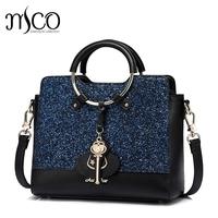 2017 luxury Glitter Sapphire Blue handbags women   bags   Magic Stick designer brand circular Hand shoulder female crossbody   bags