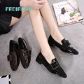 Brand FEDIROMA Spring Oxford Shoes Women Patent Leather Pointed Toe Slip-on flat Loafers Casual Metal buckles Ladies Flats