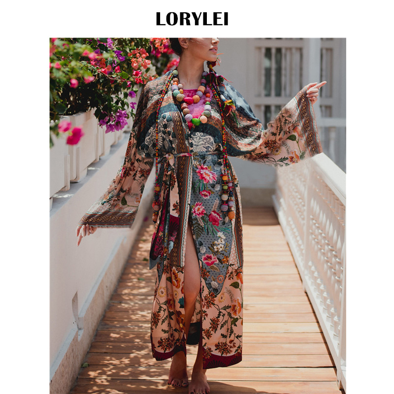 Bohemian Printed Sashes Self Belted Beach Wrap Dress Plus Size Cotton Tunic  Women Summer Bathing Suit Cover Up robe plage N653 45abb072bf4f