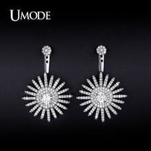 UMODE Imitation Diamond Ear Jacket Earrings For Women 2016 New Fashion Jewelry CZ Pendientes Bijouterie Christmas Gifts AUE0224