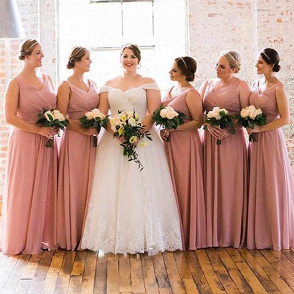 Blush Pleat Chiffon Bridesmaid Dresses A Line Floor Length Long Maid Of Honor  Dress Cheap Women b7d405de41e4
