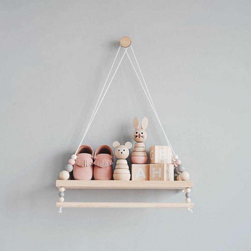 Nordic Style Wooden Beads Wall Hanging Shelf Swing Rope Floating Shelves Display Storage Rack Decor For Home, Office, Cafe
