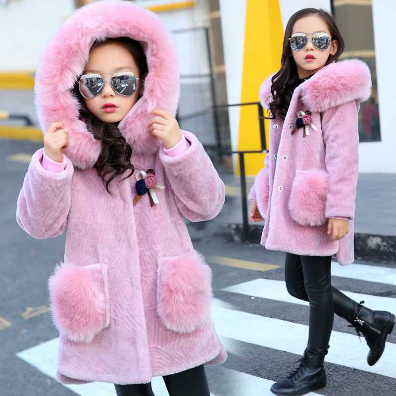 New Baby Girls Coats Jackets Autumn Winter Long-Sleeve Faux Fur Coats For Girls Hooded Warm Jackets Kids Cotton Thick Outerwear new 2018 fashion fur hooded long cotton jackets for little teenage girls outerwear tops kids thick warm coats padded clothing