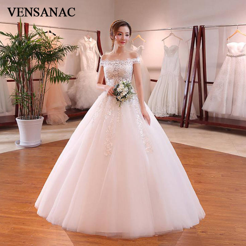 VENSANAC Illusion Boat Neck Lace Appliques Ball Gown Wedding Dresses 2018 Tulle Off The Shoulder Backless Bridal Gowns
